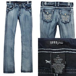 SUKO JEANS Boot Cut LONG Stretch Mid Butterflies